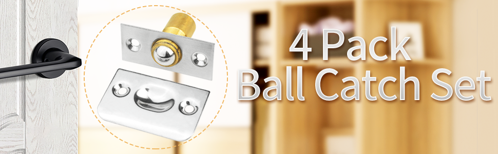 4 Pack Adjustable Spring Cabinet Latch Catch French Door Catch Ball Latches Ball Bearing Door Catch