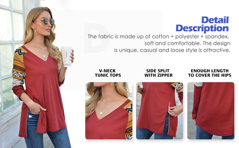 PrinStory Women's Causal V-Neck Soft Raglan Long Sleeves Tops Basic T-Shirt Split with Side Zipper