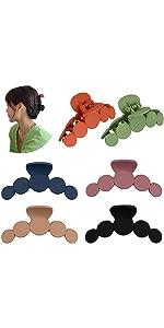 6 Colors Circle Design Matte Jumbo Hair Claws