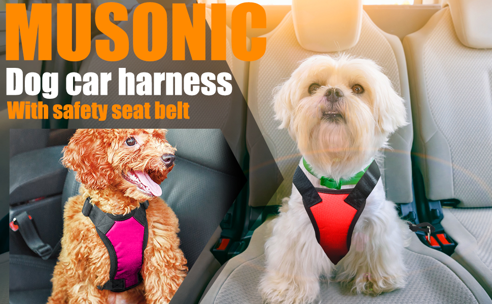 dog car harness vest with safety seat belt for small medium large dog puppy breed