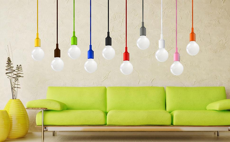 H/öhenverstellbare Pendelleuchte H/ängelampe Esstischlampe Esstisch K/üche Esszimmer Gelb Kinderzimmer ohne Lampenschirm Einstellbare L/änge Maximal 155CM von Enuotek