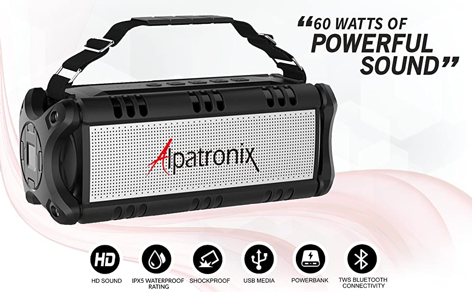 Black Alpatronix AX500 Bluetooth Wireless Stereo Shockproof Speaker with 60 Watts of Powerful Sound