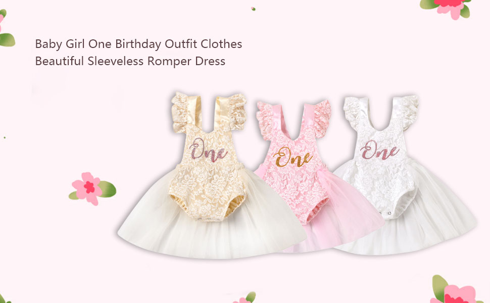 baby girl 1st birthday outfit lace sleeveless romper dress