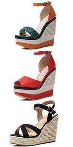 high heel paltform wedge sandals for women