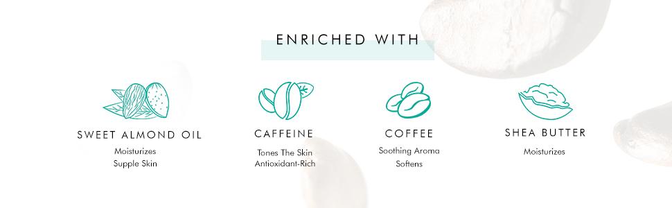 skin nurturing caffeine tones skin white water lily skin conditioning sweet almond oil moisturizes