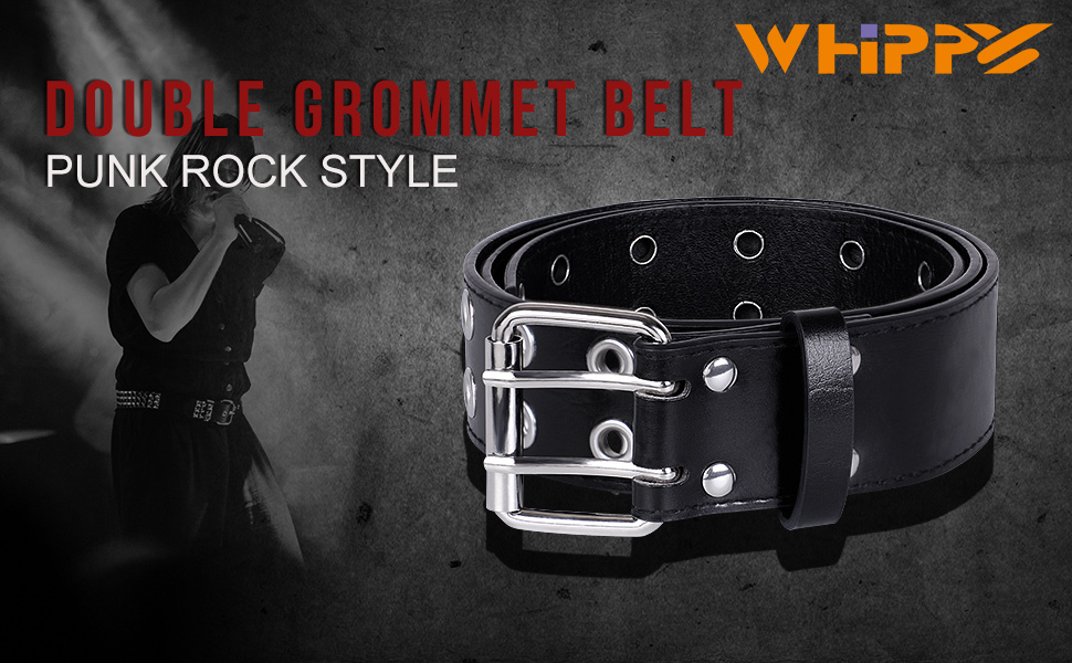 WHIPPY black double grommet belt
