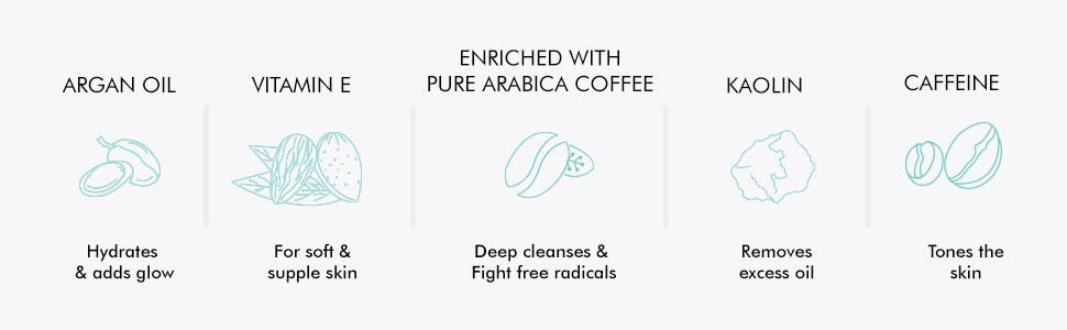 caffeine argan oil enriched with pure arabica coffee deep cleanses fights radicals vitamin e kaolin