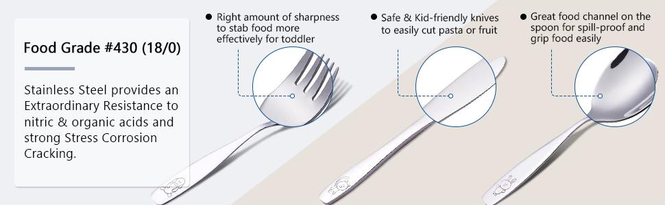 Exzact Children's Flatware 6 Pieces Set - Food Grade Safe #430