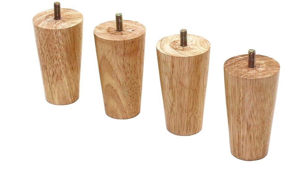 mesa de comedor armario TV juego de 4 patas de repuesto para muebles de madera maciza con placa de montaje y tornillos para sof/á cama La Vane Patas de madera para muebles
