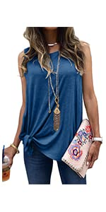 MODARANI Tie Knot Sleeveless Shirt for Women Casual Tank Tops Solid Color Comfy