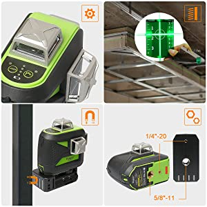 Facile à utiliser: ¡ñMetal Protective Cover: La fenêtre laser supérieure en métal surmoulé avec résistance IP54 à l'eau et à la poussière vous permet de bien travailler dans des environnements de travail dangereux. ¡ñGreen Target Plate: Augmente la visibilité du faisceau laser. ¡ñSupport pivotant magnétique à 360°: Permet d'être adsorbé sur des rails en métal et en acier. La base offre une rotation libre à 360° pour répondre aux différents angles requis. ¡ñDeux femelle fileté: Filetages de fixation 1/4