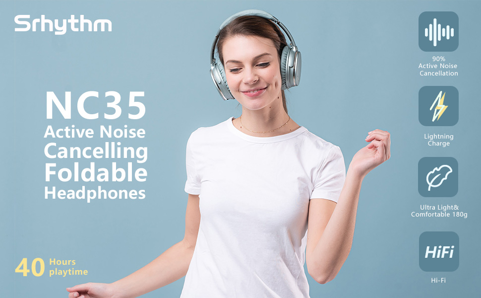 1  Noise Cancelling Headphones Wireless Bluetooth 5.0,Fast Charge Over-Ear Lightweight Srhythm NC35 Headset with Microphones,Mega Bass 40+ Hours' Playtime -Low Latency 5e45f125 898f 4bca bc11 bb021b9cb182
