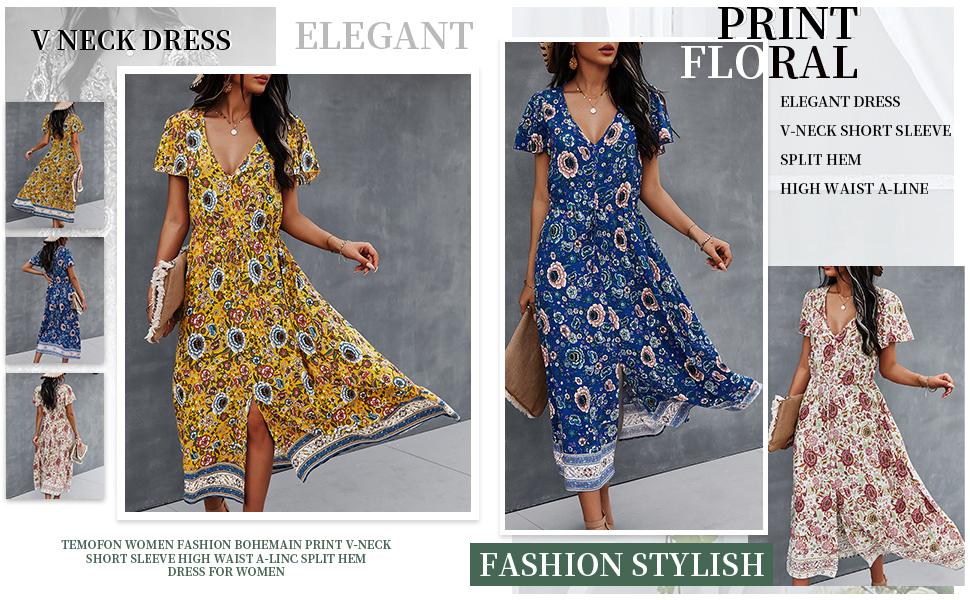 3345-Summer bohemain beach long dress for women