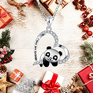 panda necklace sterling silver