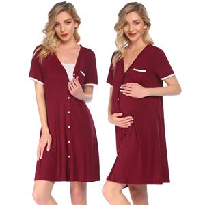 Button Down Nightshirt Short Sleeve Sleepwear