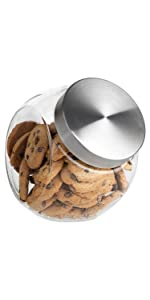 65oz Glass Cookie Jar (2 Pack) - Flat Bottom Glass Candy Jar - Large Glass Jar with Airtight Lid