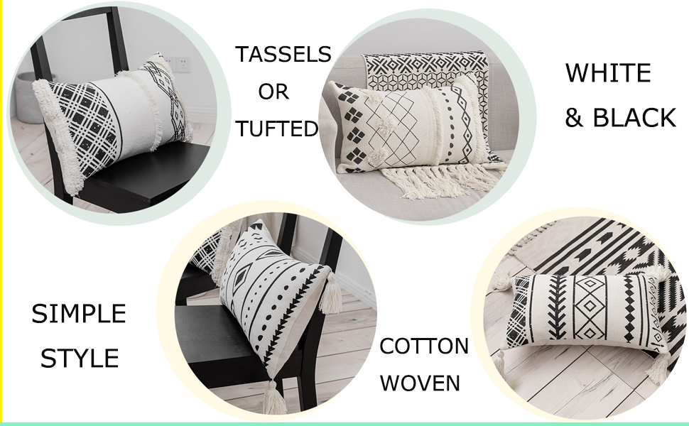 tassels rectangle pillows home decorative geometric farmhouse boho chic cover bed bedroom