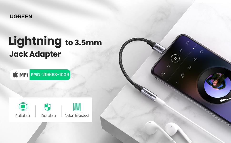 Ugreen Lightning to 3.5mm Jack Adapter MFi Certified Nylon Braided Pakistan BrandTech.pk