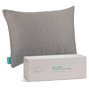 Blissbury SpineRight Water Pillow Gray therapeutic hypoallergenic comfortable plush box pattern