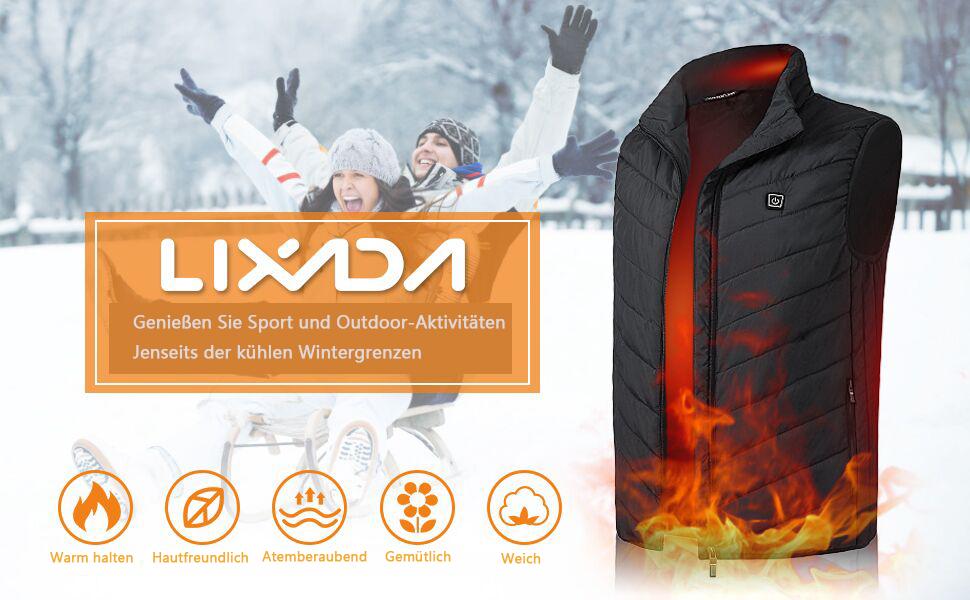 elektrisch wiederaufladbar beheizte Jacke Lixada warme Winterjacke f/ür Damen und Herren