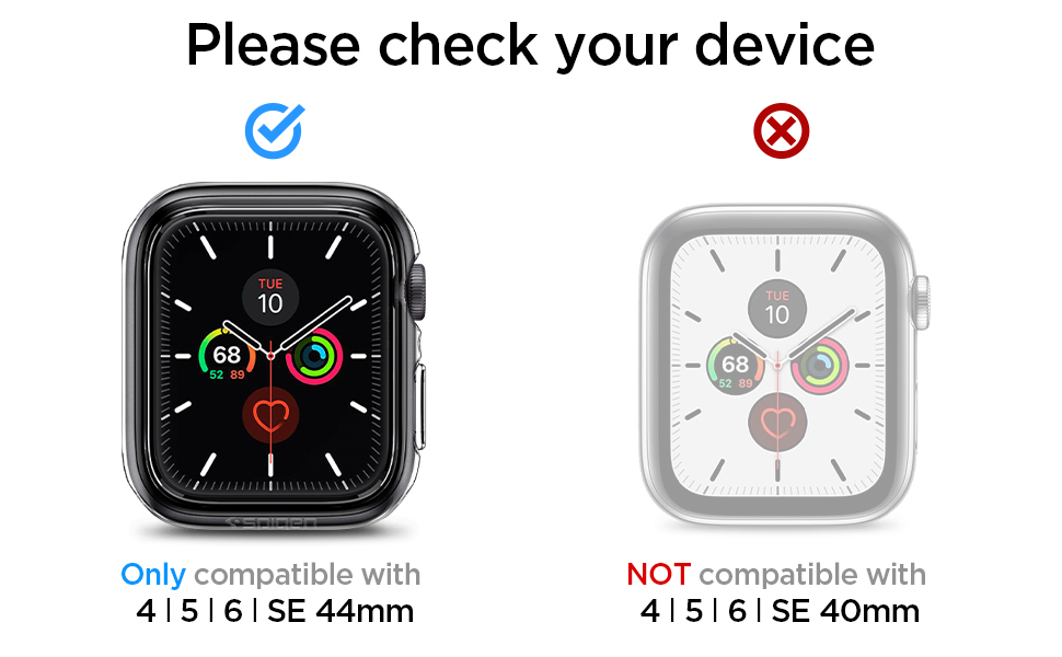 Spigen Ultra Hybrid for Apple Watch Screen Protector Case for 44mm Series 6/SE/5/4 - Crystal Clear