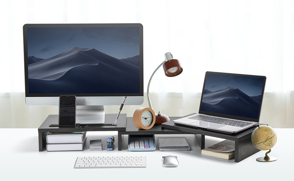 desktop storage organizer riser with adjustable length and angle