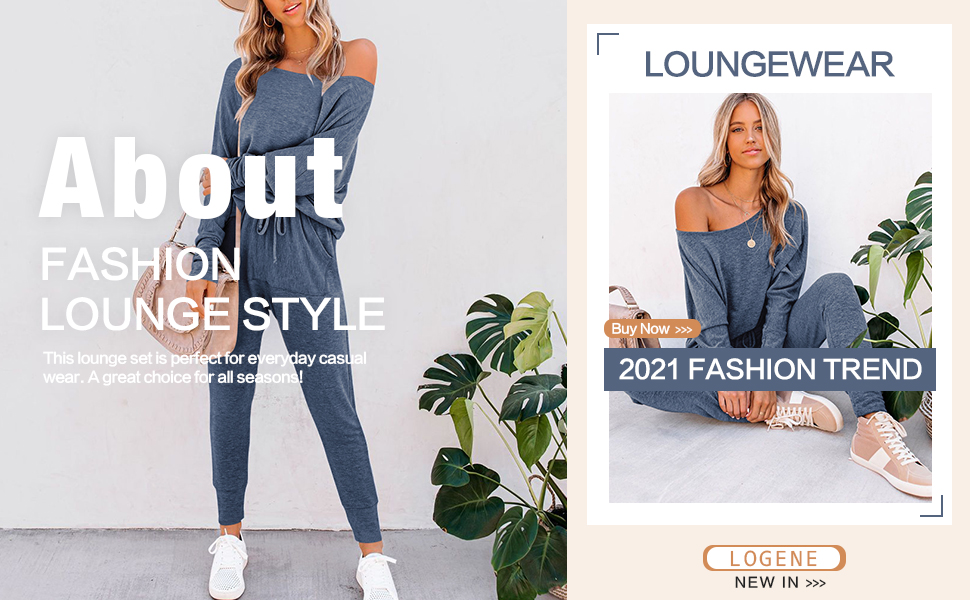 Plain Solid Color Lounge Sets for Women Batwing Off Shoulder Tops and Joggers Set Outfits Sweatsuits