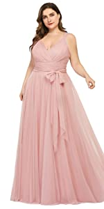 plus size bridesmaid dress wedding party gowns formal evening dress wedding guest gowns v-neck dress
