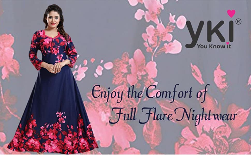 nighty full flare nighty for women