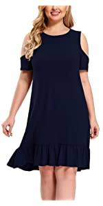 Plus Size Short Sleeve Cold Shoulder Loose Ruffles Swing Casual T-Shirt Dresses