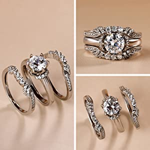 Jeulia Ring Set 925 silver rings promise anniversary with side diamonds