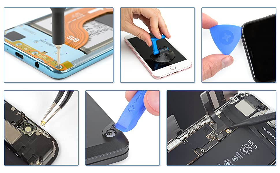 ifixit driver suction cups opening picks tools angled tweezers spudger parts removal components tech
