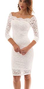 Vestido de Encaje con Hombros Descubiertos para mujer
