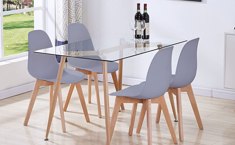 Goldfan Glass Dining Table And Soft Velvet Chairs Set Morden Rectangular Kitchen Table And Chairs For Dining Room 120cm Pink Dining Room Furniture Furniture