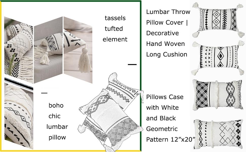tribal tassels throw lumbar pillow cover geometric boho morocco long pillowcase black white