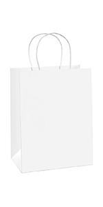 "BagDream 8X4.75X10.5"" White Gift Bags 100PCS"