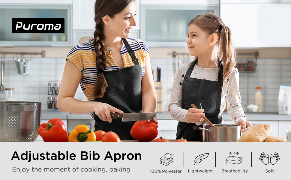 black bib apron