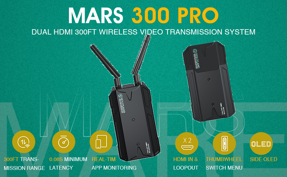 Hollyland Mars 300 Pro 1080p HDMI Transmission System(Enhanced Package)