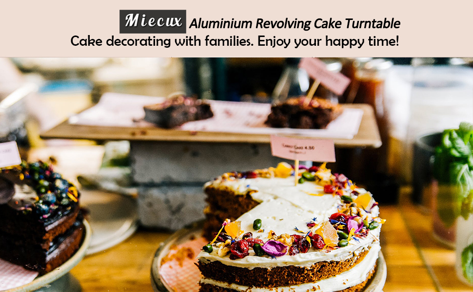 Cake Decorating Supplies-Aluminium Alloy Revolving Cake Stand Cake Turntable with 12.7 Angled Icing Spatula Cake leveler Comb Icing Smoother for Baking