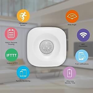 OWSOO PIR Bewegungsmelder WiFi, Drahtloser Passiver Infrarotdetektor, Sicherheit Einbruchmeldesensor, Tuya APP Steuerung, Kompatibel mit IFTTT、Smart