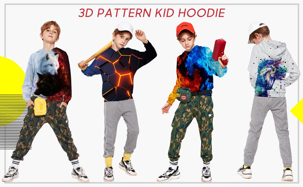 Goodstoworld Unisex Kids Hoodie Boy Girl Cool 3D Lightweight Hooded Pullover Sweatshirt for 3-14 Years