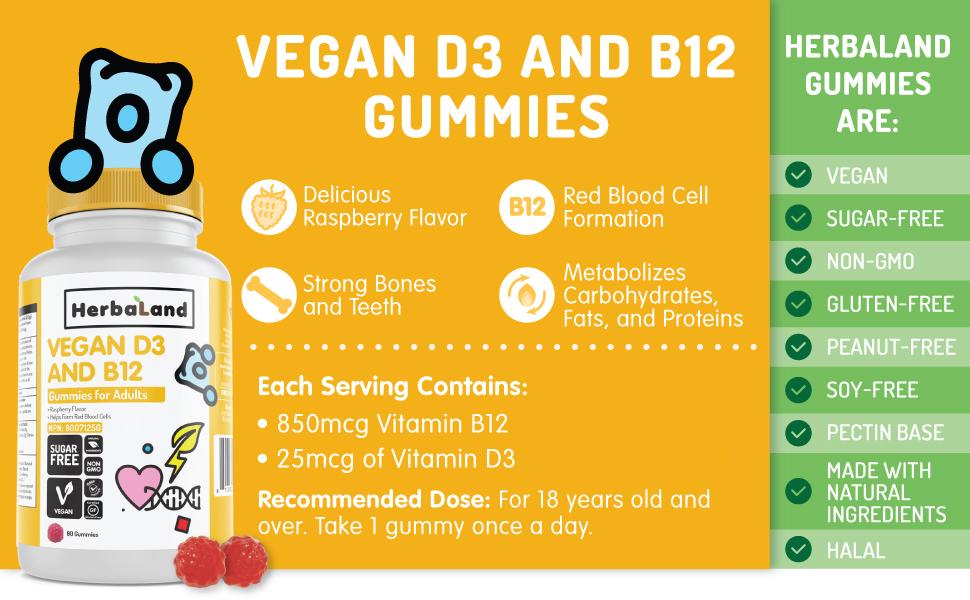 herbaland gummies vitamin supplement plant-based vitamin d3 b12 red blood cell calcium bones teeth
