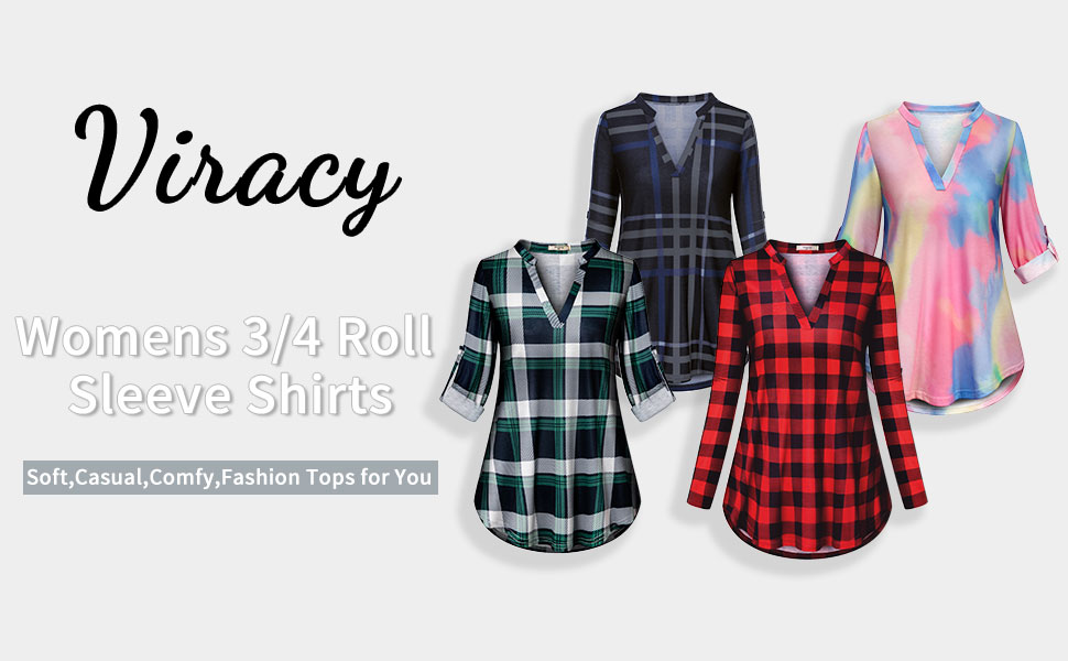 Viracy Womens 3/4 rolled Long sleeve shirts tunic tops for autumn Daily Streetwear