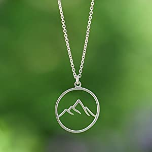 Boma Sterling Silver mountain pendant necklace circle round