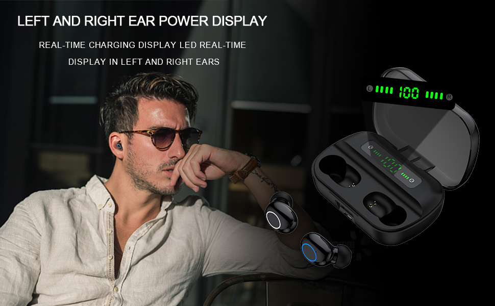 wireless earbuds display