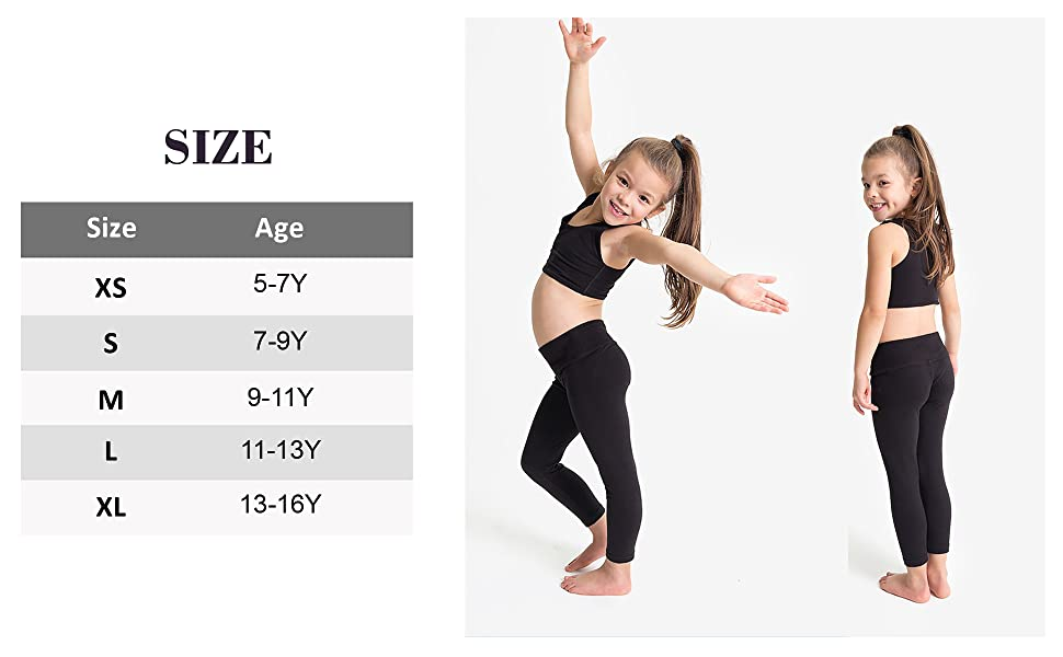 yoga pants for girls size chart