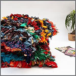 chindi rags shag pillow. trash to gold. Rags to riches