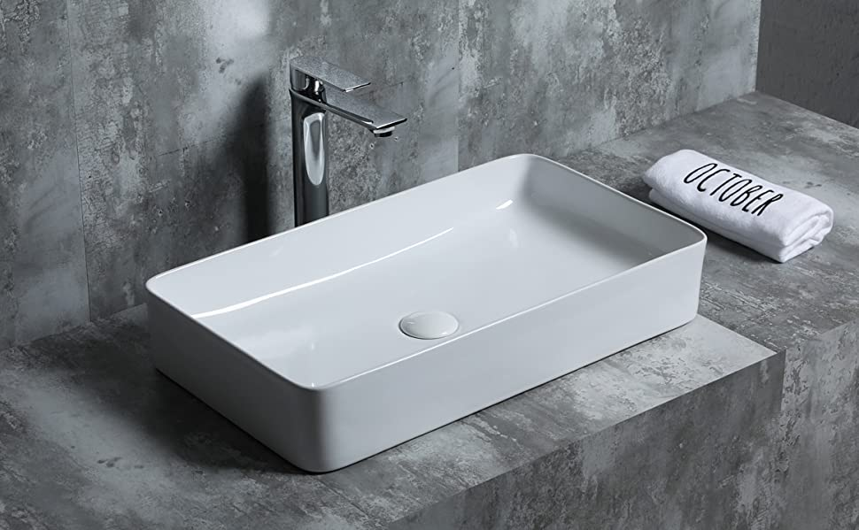 Lavabo forme carr/é. Vasque /à poser en c/éramique SFino-K42 Starbath