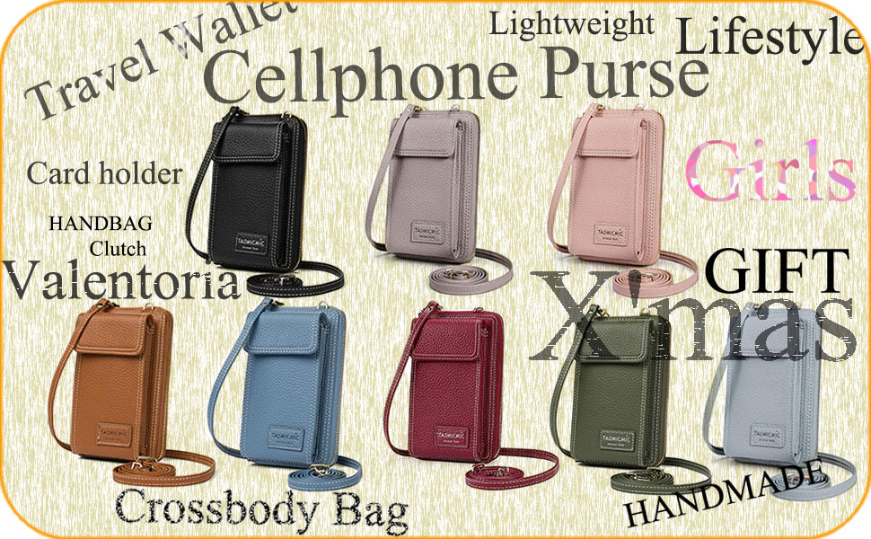baggap - touch screen waterproof leather crossbody phone bag for iphone galaxy & other,