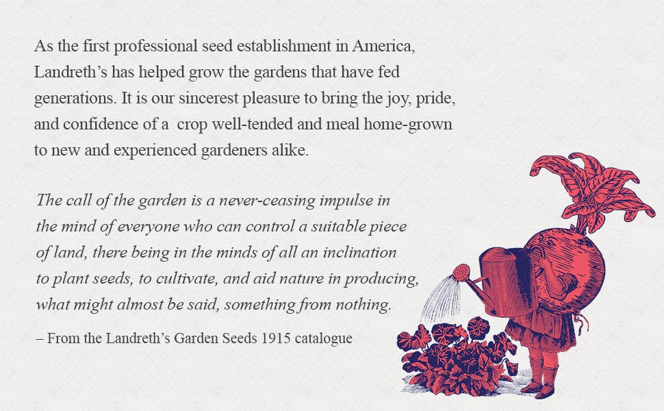 landreth's garden seeds history in text with illustration on right